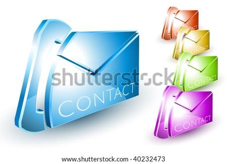 Shiny 3D contact symbol - stock vector