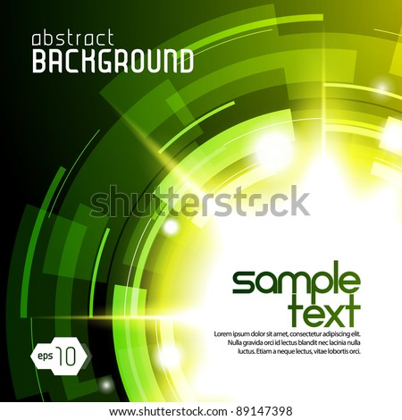 Shiny Dark Round Background 3: Green And Yellow - stock vector