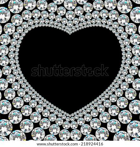 Shiny diamond heart frame on black background - stock vector