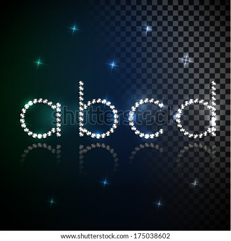 Shiny diamond transparent alphabet letters set - lowercase version - eps10 - stock vector