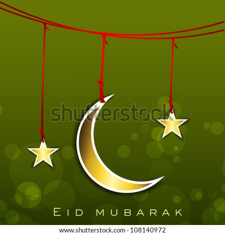 Shiny Eid Mubarak background with hanging golden Moon and Stars. EPS 10. - stock vector