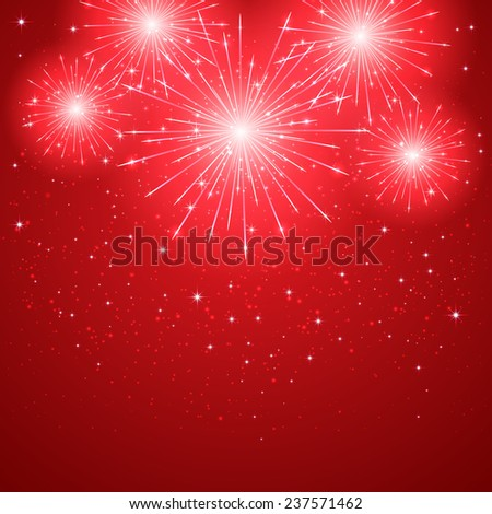 Shiny firework on red starry background, illustration. - stock vector