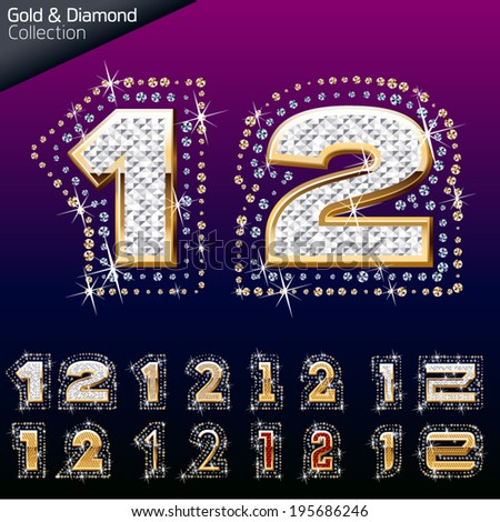 Shiny font of gold and diamond vector illustration. Number 1- 2 - stock vector