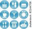 shiny food icons - stock vector