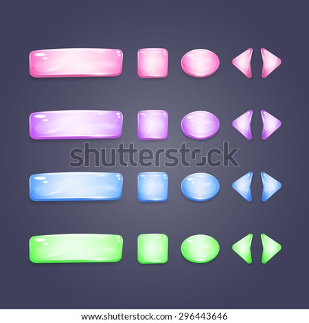 Shiny glass buttons of different shapes for game interface and web design - stock vector