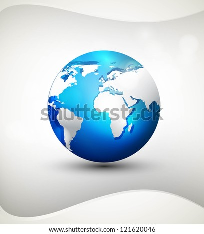 Shiny Globe icon blue colorful shadows and white map vector illustration