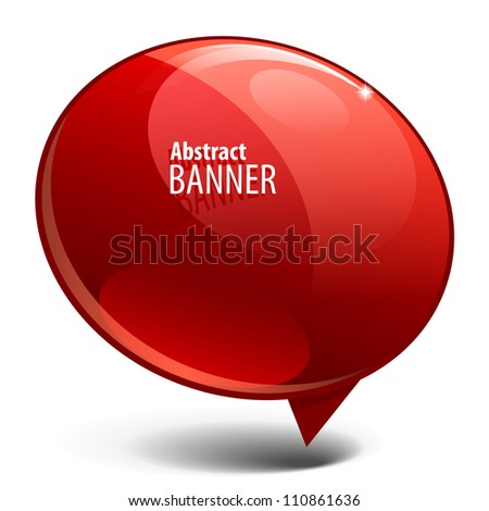 Shiny gloss red banner. vector - stock vector