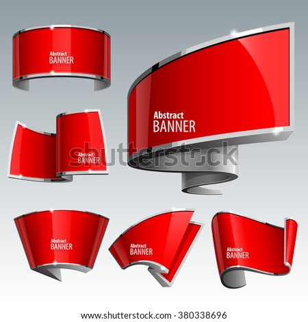 Shiny gloss red vector banner set. eps 10 - stock vector