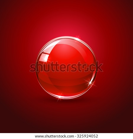 Shiny glossy ball on red background, illustration. - stock vector