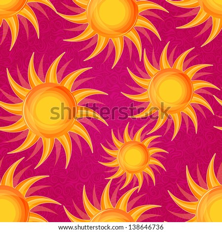 Shiny Glowing Orange Sun on Pink Seamless Background. Vector Pattern
