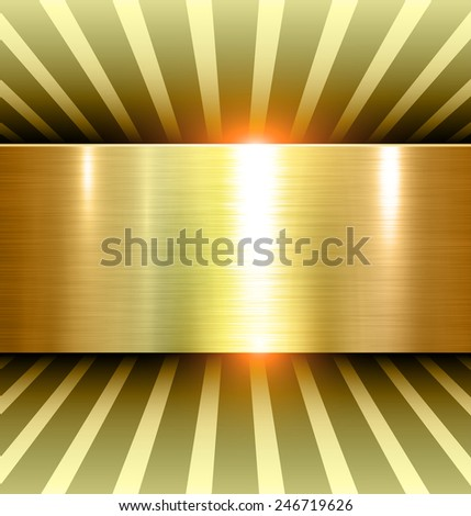 Shiny Gold Background 3d with metal texture, vector. - stock vector