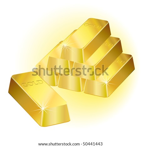 Shiny gold bars over a white background