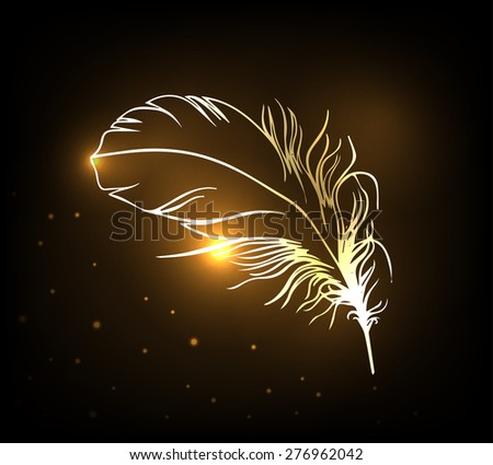 Shiny gold feather over dark background. Concept for temporary flash metallic tattoo. Vector illustration.