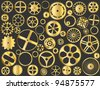 Shiny gold gears, pinions and wheels vector - stock vector