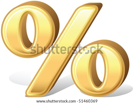 Shiny gold percent symbol icon with shadow, isolated. - stock vector