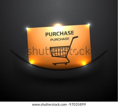 Shiny gold shopping cart icon in dark pocket - stock vector