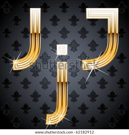 Shiny golden alphabet on a chic victorian background. Character j - stock vector