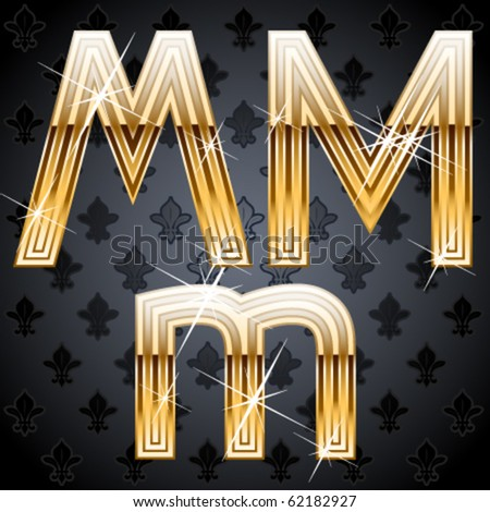 Shiny golden alphabet on a chic victorian background. Character m - stock vector