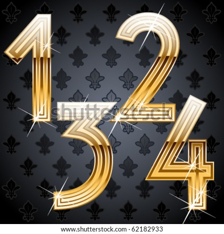 Shiny golden alphabet on a chic victorian background. Characters 1 2 3 4