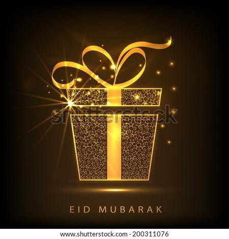 Shiny golden gift box with ribbon on brown background for muslim community festival Eid Mubarak celebrations.  - stock vector