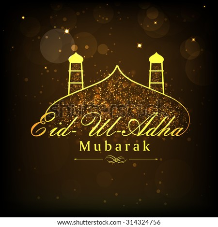 Shiny golden text Eid-Ul-Adha Mubarak with mosque on brown background for muslim community festival of sacrifice celebration. - stock vector