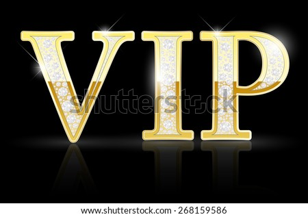 Shiny golden VIP sign with diamonds on black background - vector illustration - stock vector