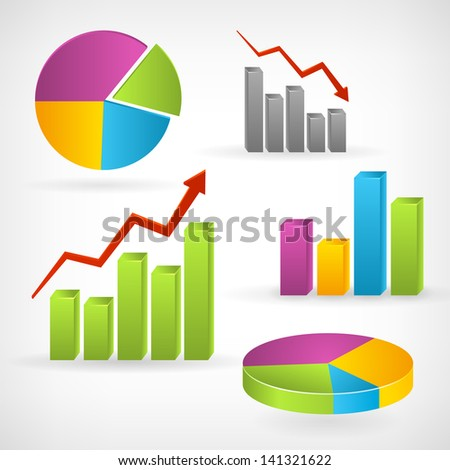 Shiny graph positive vector info-graphic icon. Isolated from background. Layered. - stock vector