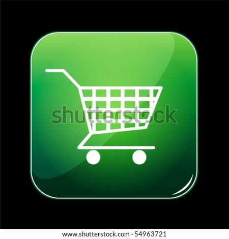 shiny green shopping cart button - stock vector