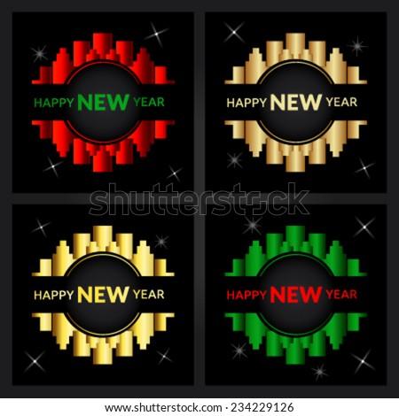 Shiny Happy New Year cards with city logo - stock vector