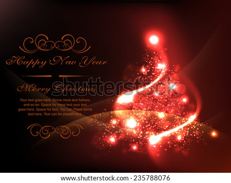 shiny Happy New Year greeting card isolated on dark background. Vector Illustration - stock vector