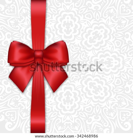 Shiny holiday red satin ribbon bow on white lacy ornamental  background. Vector template for greetings, invitations, cards - stock vector