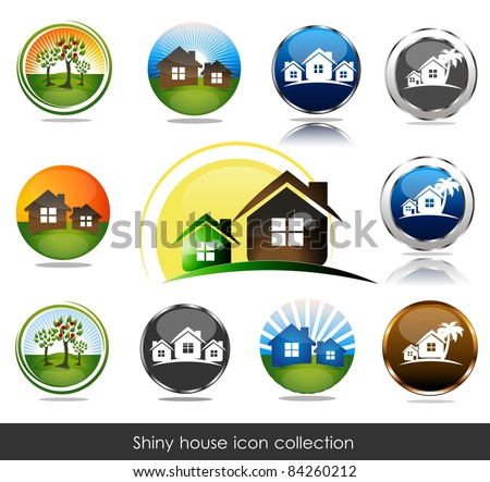 Shiny house icon collection. - stock vector