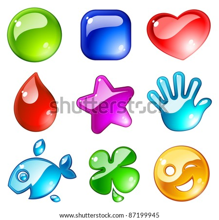 Shiny icons - stock vector