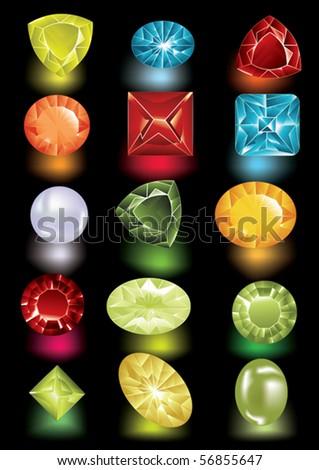 shiny jewels - stock vector