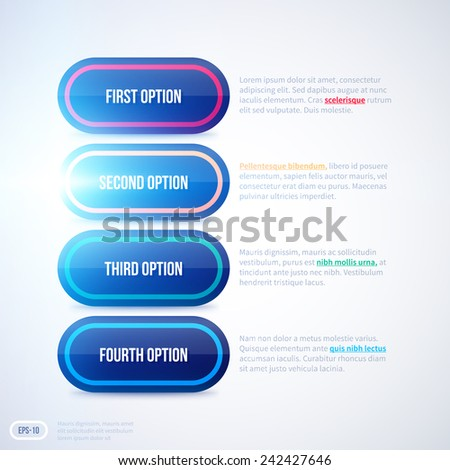 Shiny layout with four options. EPS10 - stock vector