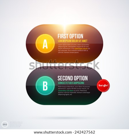 Shiny layout with two horizontal banners/options. EPS10 - stock vector