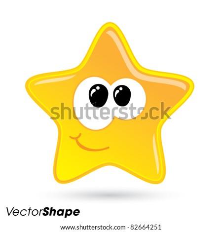 Shiny little happy star smiling vector illustration - stock vector