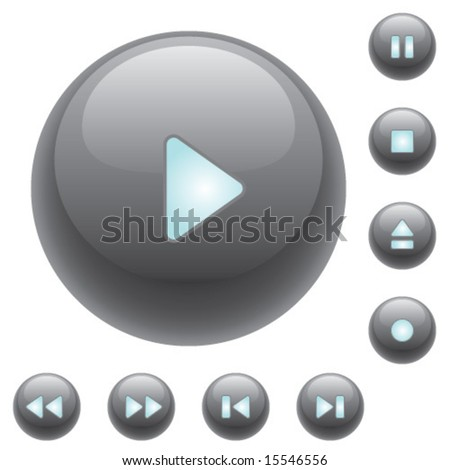Shiny media control buttons for audio or video.  Vector art.