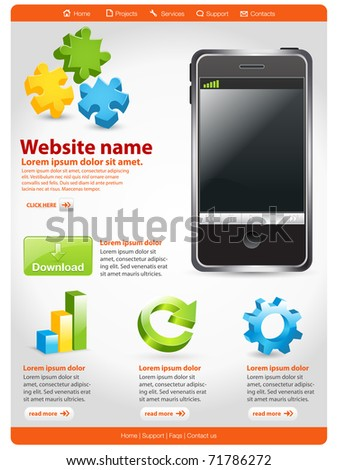 Shiny media player website template - stock vector