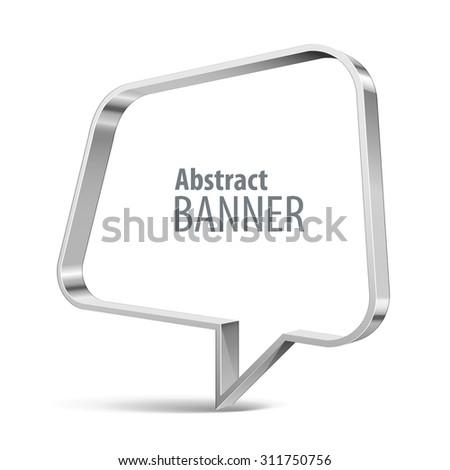 Shiny metal vector speech bubble. eps 10 - stock vector