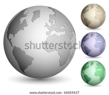 Shiny metallic globe set - stock vector
