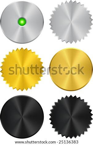 Shiny metallic shapes (buttons) in silver, gold & black. - stock vector