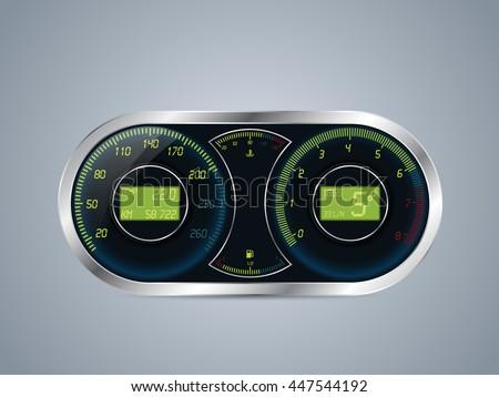 Shiny metallic speedometer and rev counter design - stock vector
