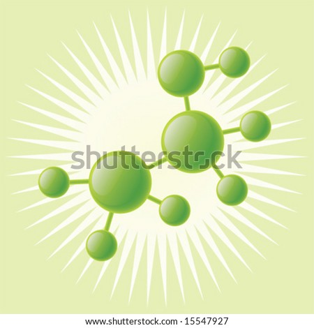 Shiny molecule model of ethanol. - stock vector