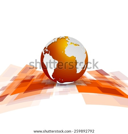 Shiny motion tech background with globe. Vector design - stock vector