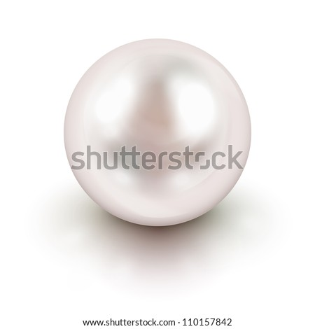 Shiny natural white pearl with light effects - stock vector