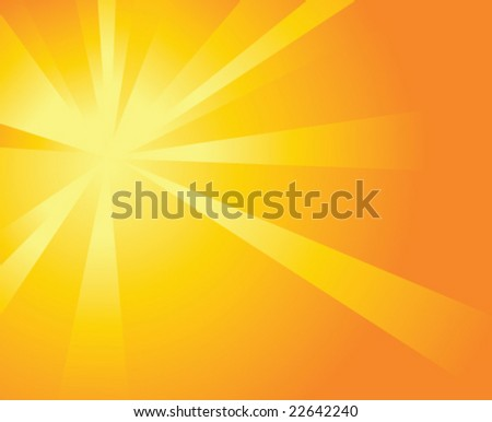 Shiny Orange Background with Beams - stock vector