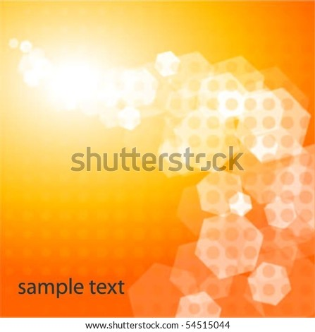 Shiny Orange Background with Halftone - stock vector