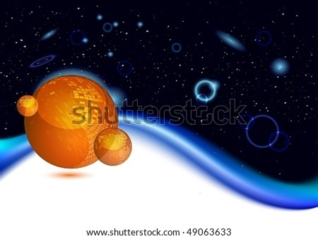 Shiny orange planet in deep space, vector illustration - stock vector