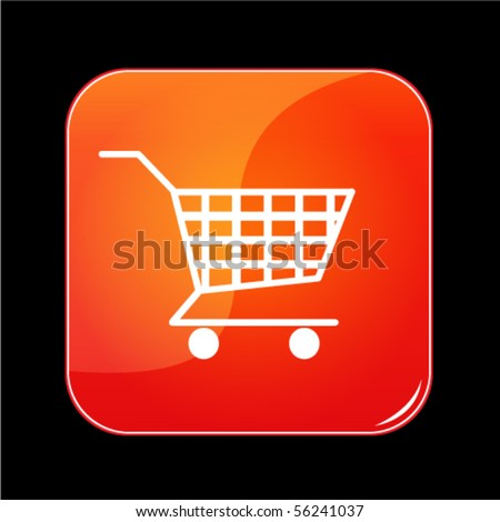shiny orange shopping cart button - stock vector